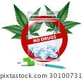 No drugs sign with marijuana leaves 30100731