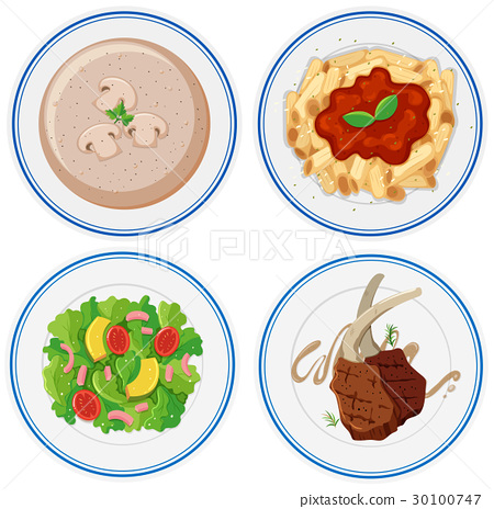 Four plates of different food 30100747
