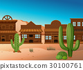 Desert scene with shops and cactus 30100761