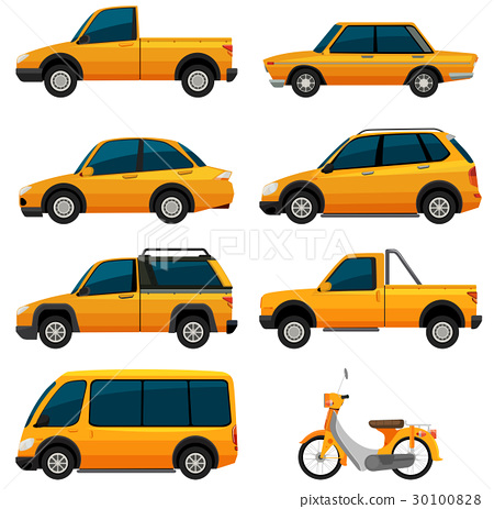 Different kinds of transportation in yellow 30100828