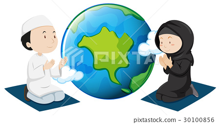 Muslim people praying around the world 30100856