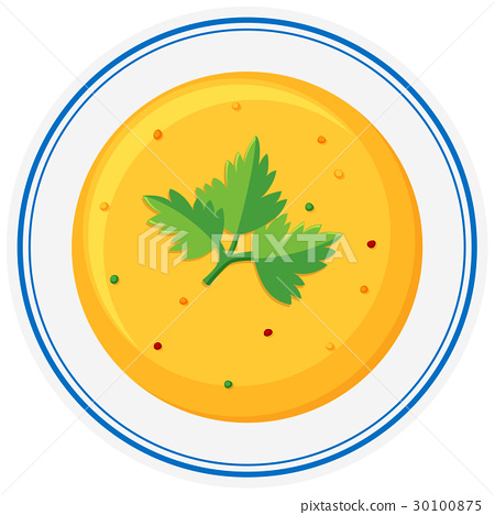 Cream vegetable soup in bowl 30100875