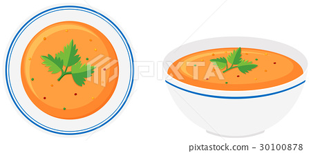 Vegetable soup in bowls 30100878