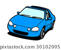 90年代風格的國產緊湊型運動車開藍色 30102005