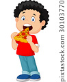 Cartoon boy eating pizza 30103770