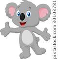 Cute koala cartoon posing 30103781