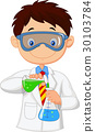 Boy doing chemical experiment 30103784