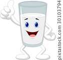 Cartoon glass of milk giving thumb up 30103794