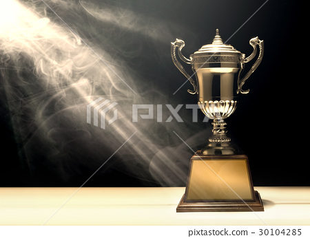 silver trophy placed on wooden table  30104285