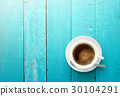 Top view of coffee cup on a ocean blue wood  30104291