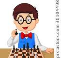 Little boy playing chess 30104498