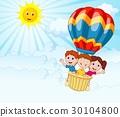 Happy kids riding a hot air balloon 30104800