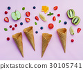 Colorful ice cream with mixed berry . 30105741