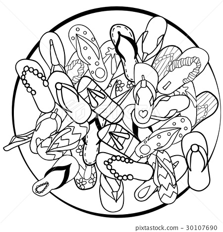 fdf94e45a Heap of hand-drawn flip flops - Stock Illustration  30107690  - PIXTA