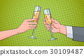 Couple Hands Clinking Glass Of Champagne Wine 30109487