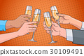 Hands Group Clinking Glass Of Champagne Wine 30109491