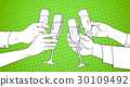 Sketched Hands Group Clinking Glass Of Champagne 30109492