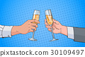Male Couple Hands Clinking Glass Of Champagne Wine 30109497