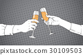 Sketched Couple Hands Clinking Glass Of Champagne 30109503