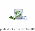 realistic vector of a glass of cocktail with lemon 30109689