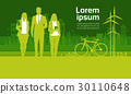 Green Silhouette Businesspeople Group Over City 30110648
