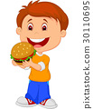 Cartoon boy eating burger 30110695