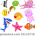 Cute sea life cartoon collection 30110716