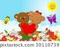 Happy bear holding red heart 30110739