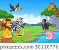Cute African safari animal cartoon characters scen 30110770
