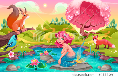 Fantasy scene with mermaid and animals 30111091