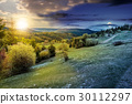 forest on a mountain hillside day and night 30112297