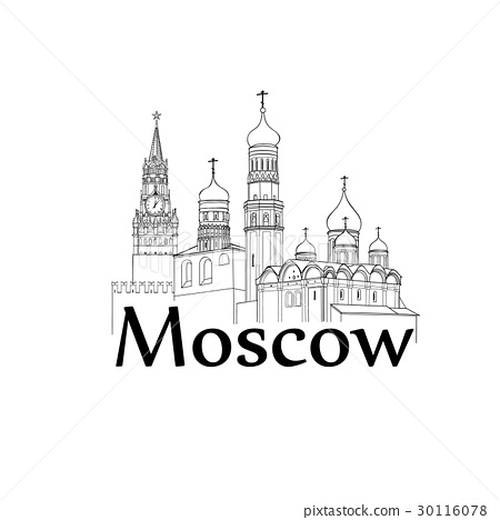 Moscow Kremlin tower, cathedral Travel Russia sign 30116078