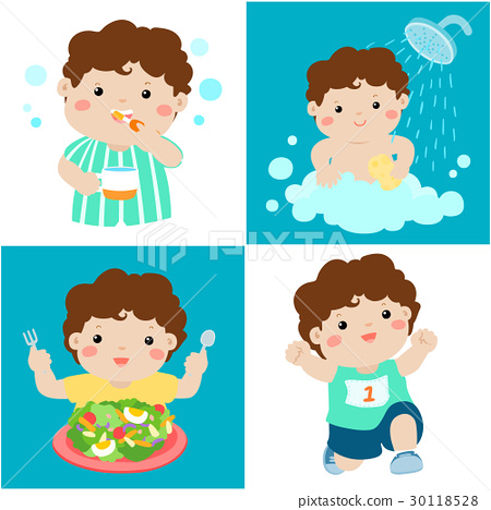 Daily healthy routine for boy cartoon vector 30118528