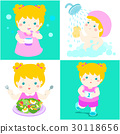 Daily healthy routine for girl cartoon vector 30118656
