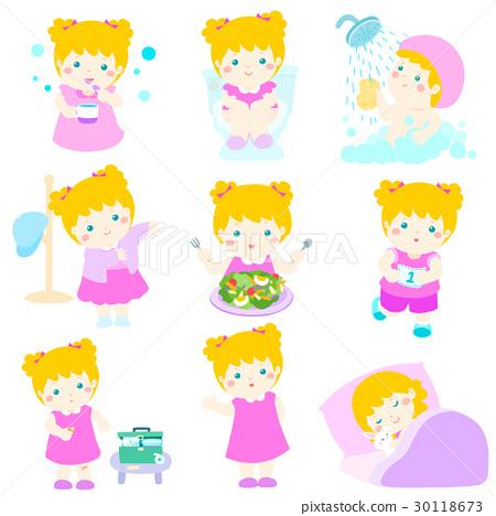 Healthy hygiene for girl cartoon vector 30118673