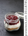 cheesecake with  jam in a glass jar 30118785