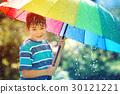 Child walking on rainy weather 30121221