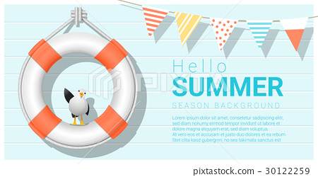 Hello summer background with lifebuoy 30122259