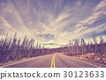 Vintage stylized scenic road, travel concept. 30123633