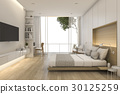 3d rendering beautiful loft minimal bedroom 30125259