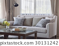 Pattern pillows setting on sofa in living room 30131242