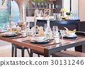 elegant table set in modern style dining room 30131246