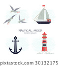 Set of Nautical Vector Pictures 30132175