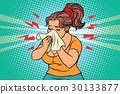 The woman is sick, runny nose and handkerchief 30133877