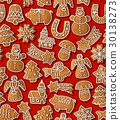 Seamless background with Christmas gingerbread 30138273