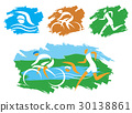 Triathlon Grunge Stylized Icons. 30138861