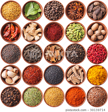collection of different spices and herbs isolated 30139714