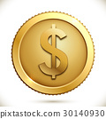 Gold coin with dollar sign on white background. 30140930