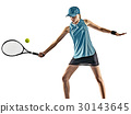 tennis woman isolated silhouette 30143645