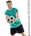 one soccer player man standing isolated white 30143655